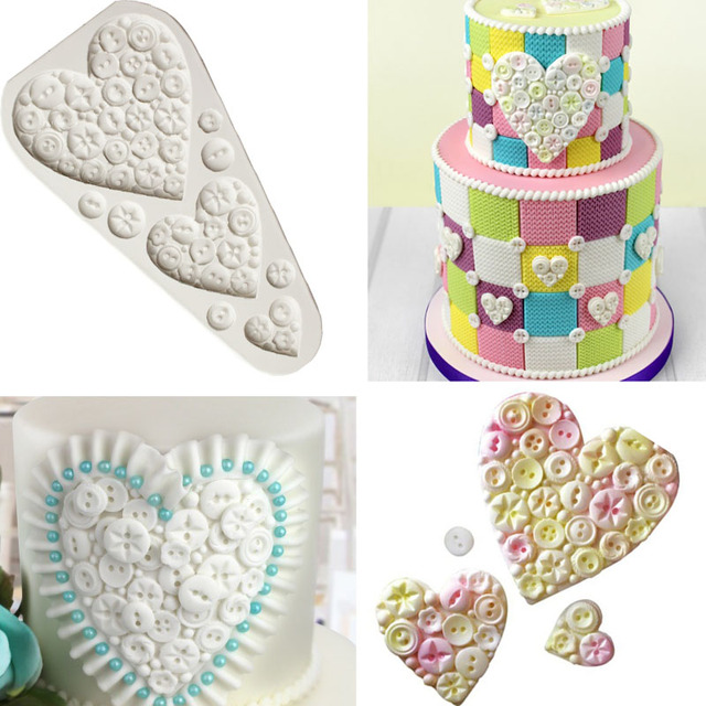 Heart Buttons Silicone Mold Knitting Baby Fondant Molds Cake Kitchen ...