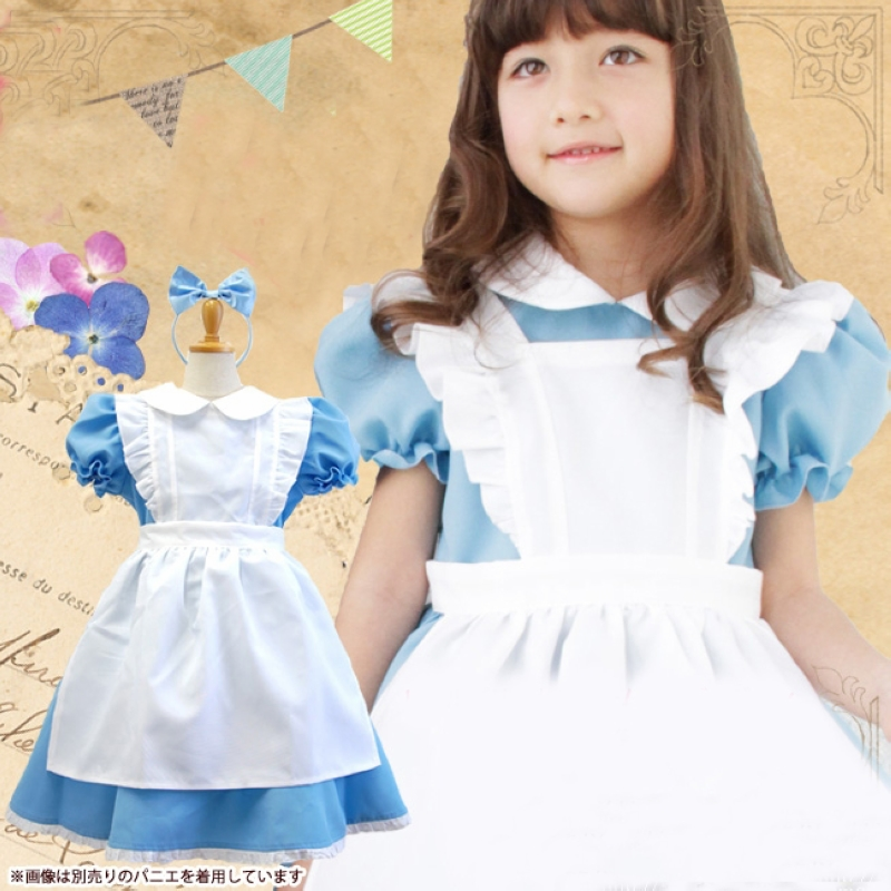 HOT girl cosplay outfit costumes kids Alice in Wonderland clothes Children princess dress knee-length bow ball gown dresses trendy kids costumes girl maid cosplay fancy dress stage performance clothes children fantasia carnival costumes