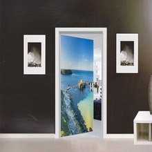 Dream home MT064 beach scenery creative door paste bedroom wood renovation sticker self-adhesive painting