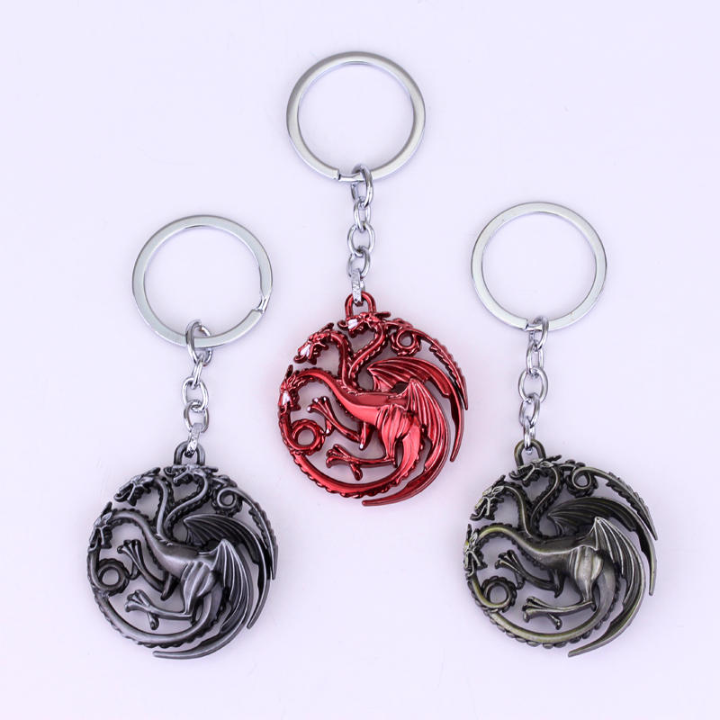 4 Colors HBO Game of Thrones House Targarye Blood and fire 3D Gold 5cm Keychain Keyring Hot gift key ring chian holder for car