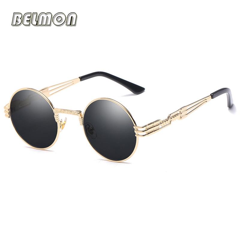 Steampunk من النظارات الشمسية الرجال النساء العلامة التجارية مصمم ريترو جولة نظارات الشمس للسيدات خمر أنثى ذكر oculos دي سول RS094
