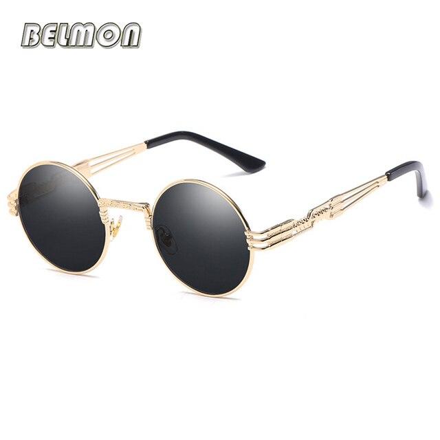 2a6b7071475 Steampunk Sunglasses Goggles Men Women Brand Designer Retro Round Sun  Glasses For Ladies Vintage Female Male Oculos de sol RS094
