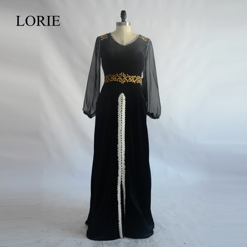 Moroccan Kaftan Black Long Sleeve Prom   Dresses   2018 LORIE Sexy Caftan Velvet Women   Evening     Dresses   Formal Long Party Gowns