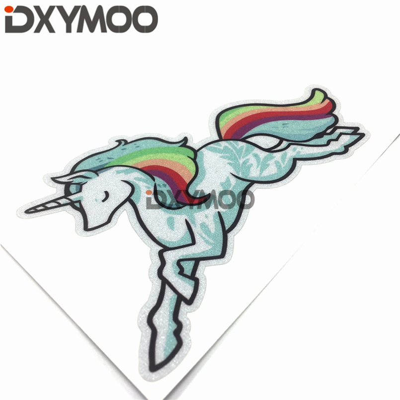 Fashion Decorate Vehicel Pinky Cute Girl Heart Auto Window Tail Stickers for Colorful Rainbow Horse 13x8cm
