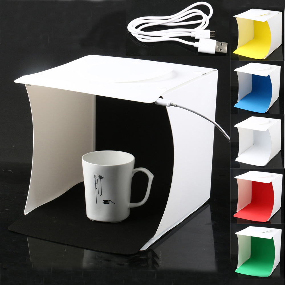 Mini 8'' Portable Folding USB LED Photography Studio Softbox Light Tent Lightbox w/ Backgrounds for Smartphone Camera DSLR Photo