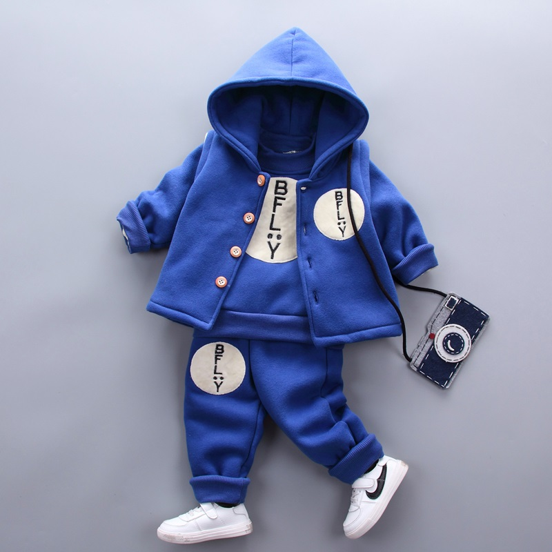3 pcs baby boy winter clothes set boys navy blue hooded vest long sleeve velvet shirt infant thick warm pants winter trousers