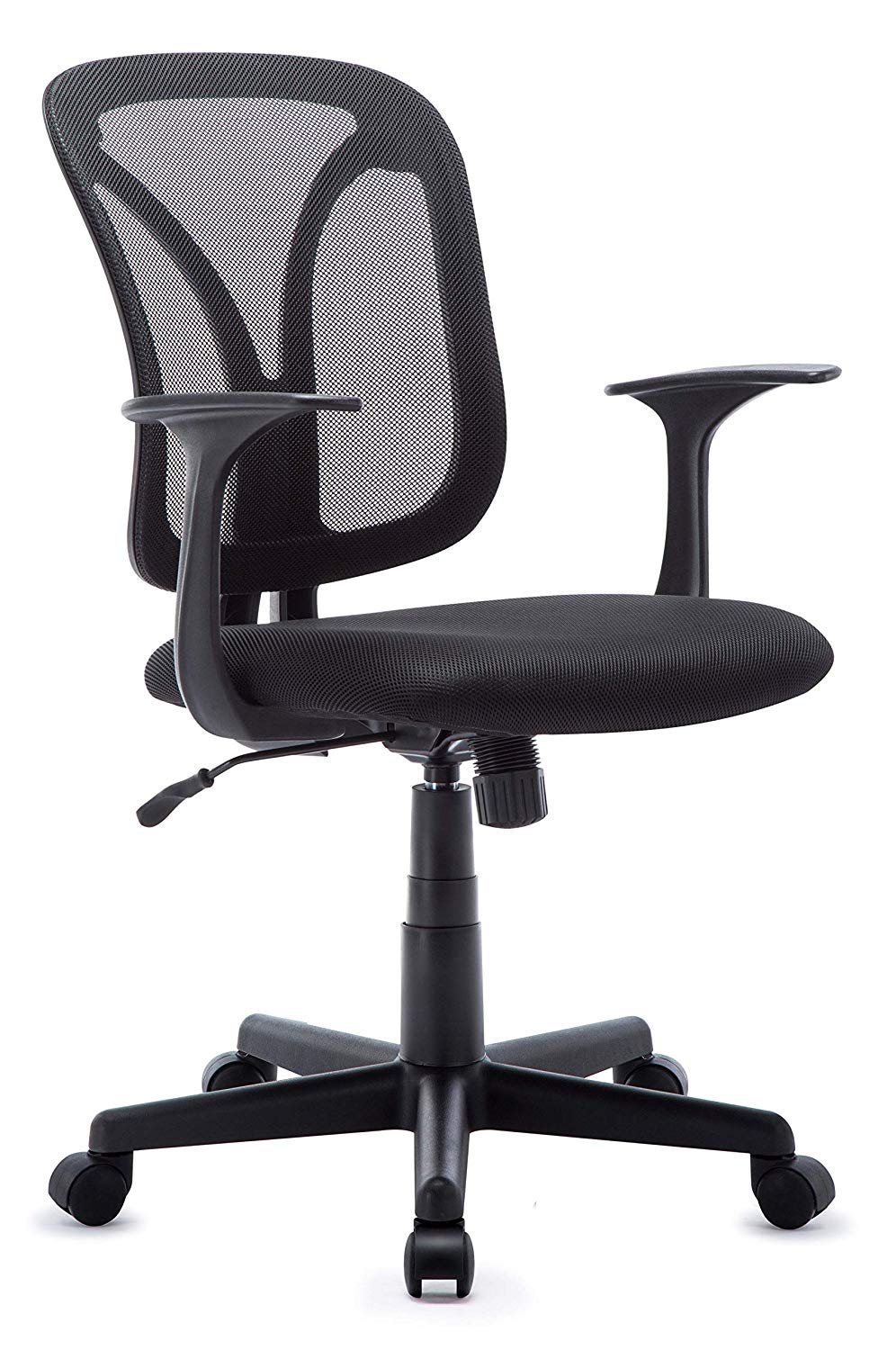 Ergonomic Fabric Mesh Office Chair Medium Back Padded Desk Chair For Bedroom Adjustable Swivel Chair With Back And Arms