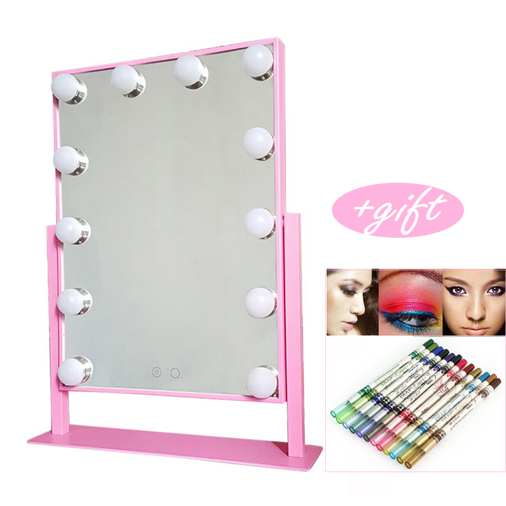Lighted Vanity Mirror with 12x 3W Dimmable LED Bulbs and Touch Control Design, Hollywood Style Makeup Cosmetic Mirrors with gift декор lord vanity quinta mirabilia grigio 20x56
