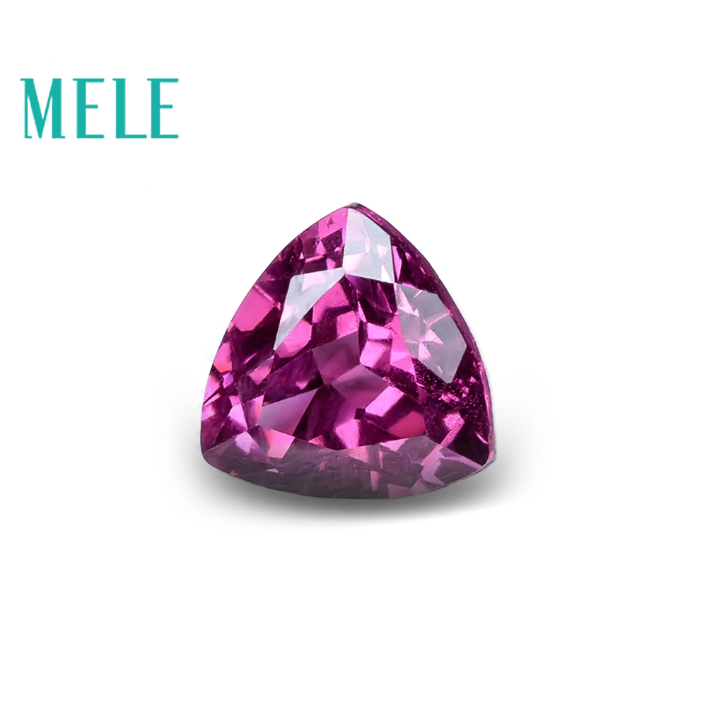 MELE Natural garnet pyrope for jewelry making,6mm triangle cut 1ct loose gemstone wtih high quality for DIY rings or pendant
