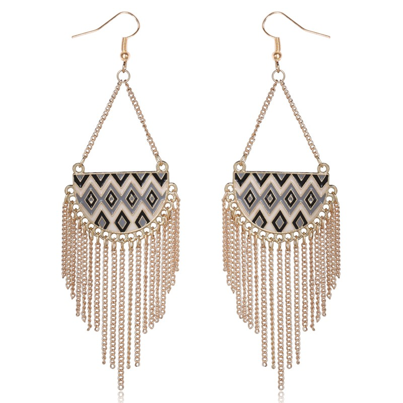 8style Available Colorful Oil Painting Long Alloy Chain Tassels ...