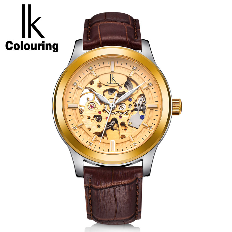IK Colouring Luxury Gold Hollow Skeleton Watch Men Steel Case Genuine Leather Strap Automatic Mechanical Waterproof Watches ik colouring rose gold case luxury men s skeleton hollow automatic self wind analog water resistant mechanical wrist watch