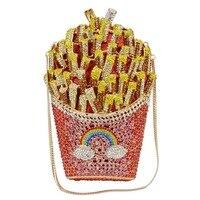 Brand Designer French Fries Chips Clutch Women Crystal Evening box Bag Diamond Wedding Handbag Bridal Purse Day Clutches SC798