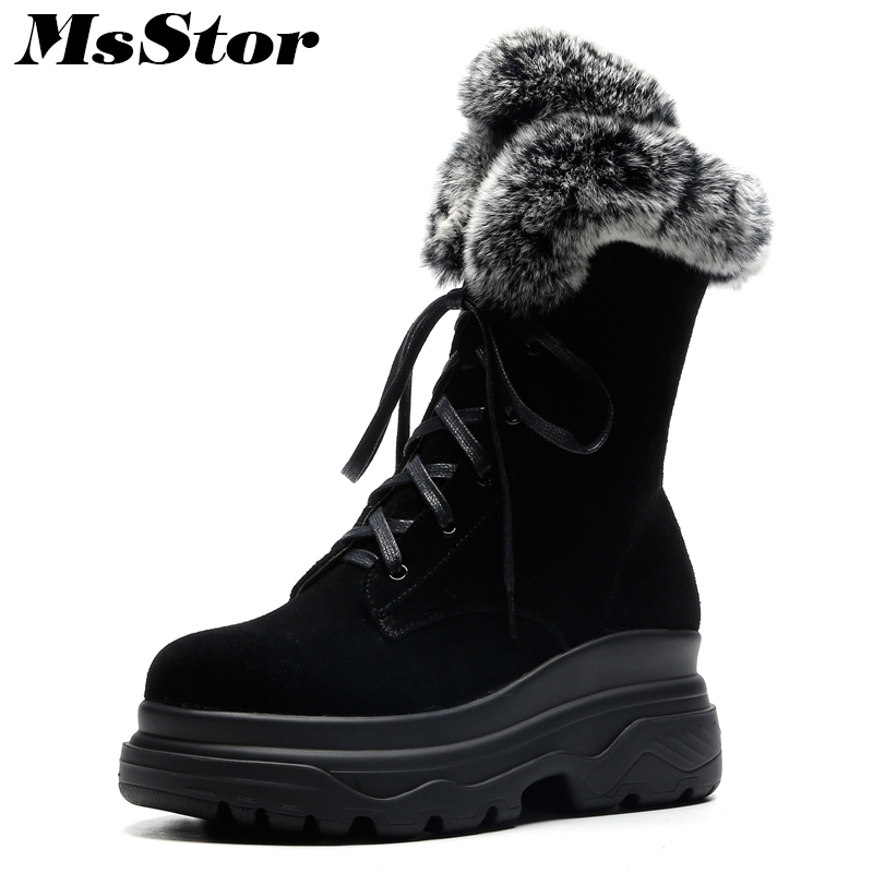MsStor Women Boots Fashion Hot Selling Round Toe Thick Bottom Ankle Boots Women Shoes Zipper Platform Flat Boot Shoes For Girl msstor round toe thick bottom women boots casual fashion concise ankle boots women shoes mature elegant platform boots women
