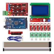 CNC 3D-принтеры комплект для Arduino Mega 2560 R3 + пандусы 1,4 контроллер + ЖК-дисплей 12864 + 6 концевой выключатель + 5 A4988 Драйвер шагового двигателя