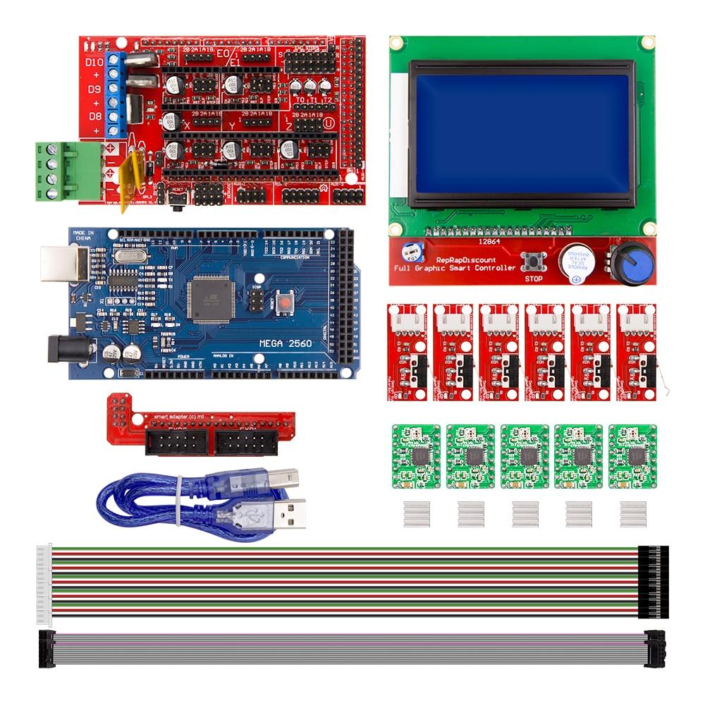 CNC 3D impresora kit para Arduino Mega 2560 R3 + ramps 1.4 controlador + LCD 12864 + 6 interruptor de límite carrera + 5 A4988 stepper conductor