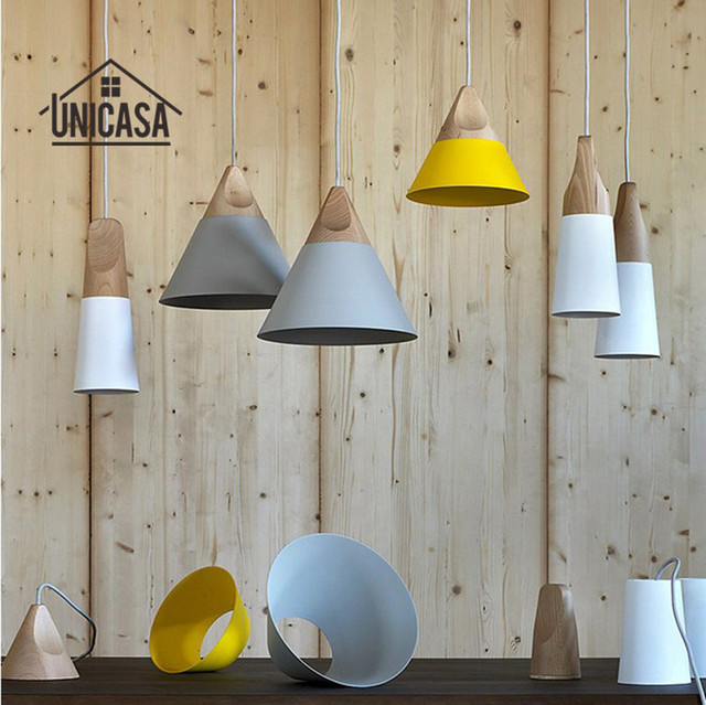 Madera moderna Lámparas colgantes aluminio industrial mini ...