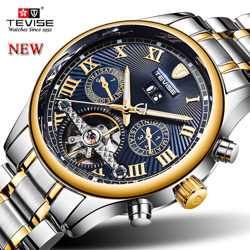 5121560cd65 Men s Relogio Automatico TEVISE Men Mechanical Watches Tourbillon Skeleton  Fashion Business Casual Male Clock With box
