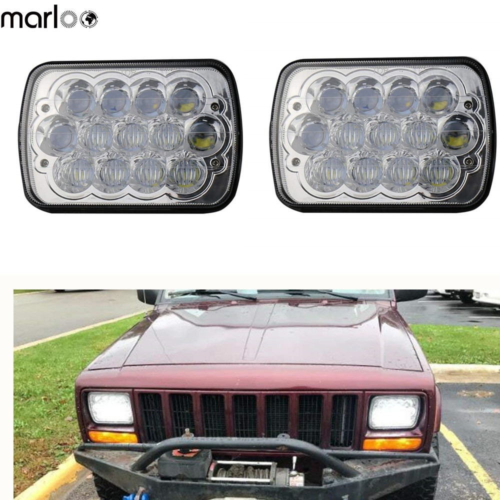 Marloo 2pcs 7x6 5x7 5d Led Headlight For Jeep Cherokee Xj