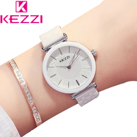KEZZI Women Top Brand Watches Fashion Rhinestone Lady Dress Wristwatches Women Bracelet Ceramic Watches Clocks Women