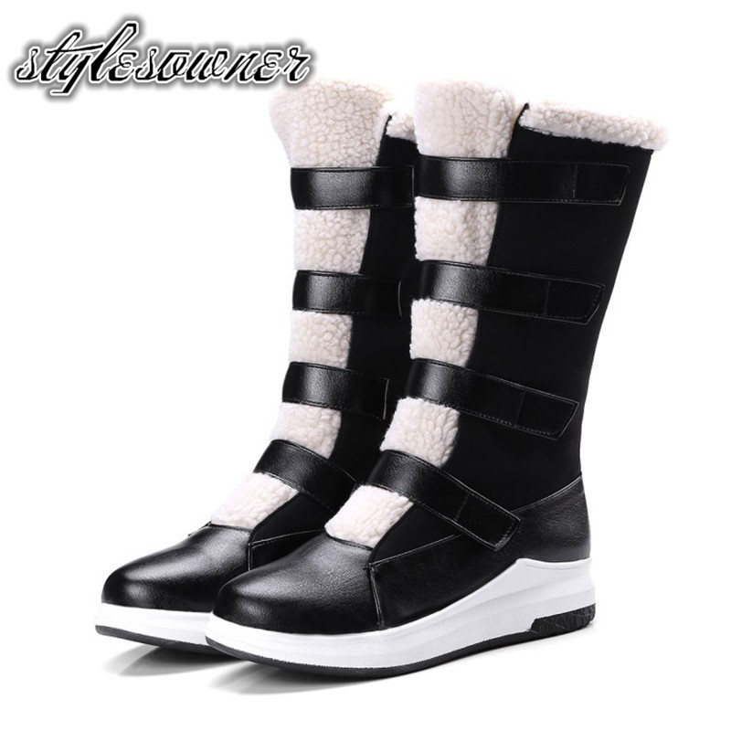 Stylesowner Top Design High Quality Thick Bottom Mid Boots PU Keep Warm Flat Wedge Shoes Black Color with Plush Winter Boots