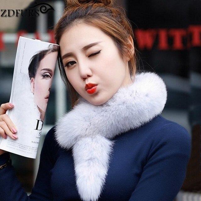 ZDFURS * Natural Color Fox Real Fur Collar Scarf Genuine fox fur Scarves Warp Shawl Neck Warmer Stole Muffler ZDC-163008