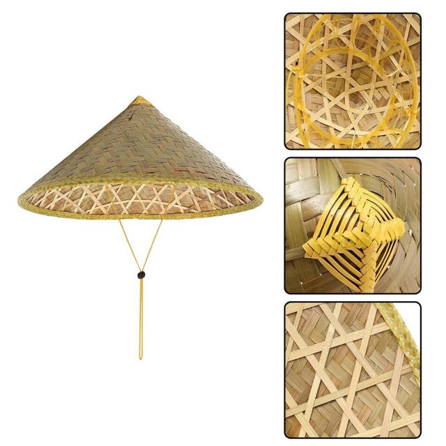 5023935437f Online Shop Handmade Weave Straw Hat Chinese Style Bamboo Rattan Hats Top  Quality Steeple Tourism Sunshade Rain Caps Fisherman Bucket Hat