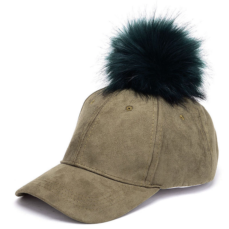 Spring Autumn Women Baseball Cap Faux Fur Pom Ball Bobble Suede Hat Female Adjustable Pompon Snapback Sun Hats Candy Color skullies beanies newborn cute winter kids baby hats knitted pom pom hat wool hemming hat drop shipping high quality s30