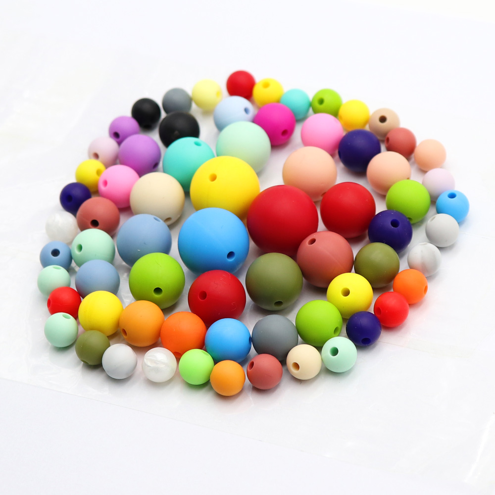 Tyry.hu 100pcs Silicone Beads Bpa Free 9/12/15/19mm Silicone Teething Beads For Necklace Pacifier Chain Baby Teether
