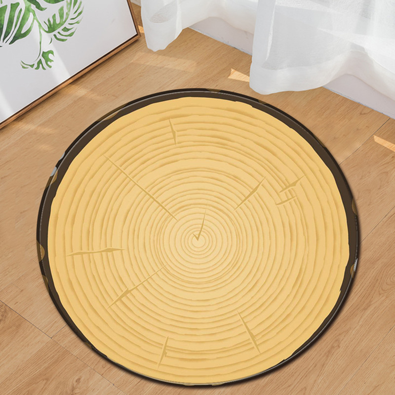 Free Shipping Classic Wood Grain Round Non-Slip Absorbent Bath Mat Area Rug for Living Room Bedroom Floor Carpet Tapete Infantil