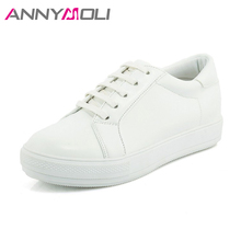 ANNYMOLI Shoes Women Flats Platform Sneakers Lace Up Creepers Round Toe Spring Flat School Casual Shoes White Large Size 33-44