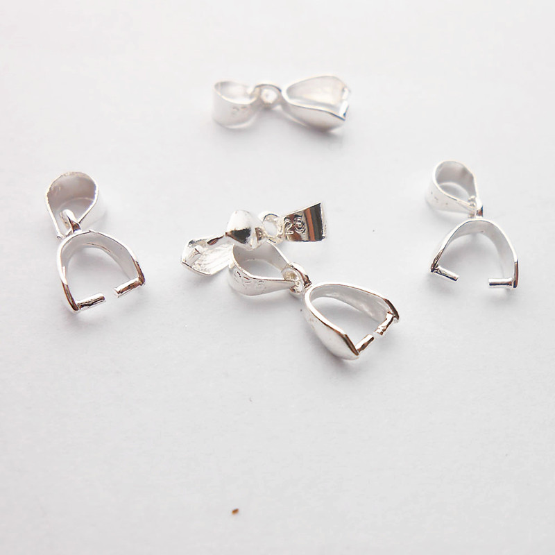 NEW 50PCS L 925 Sterling Silver Findings Bail Connector Bale Pinch Clasp Pendant