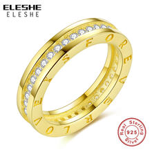 ELESHE 925 Sterling Silver Women CZ Stones Engagement Wedding Rings Gold Color Fashion Famous Brand Ring Jewelry(China)
