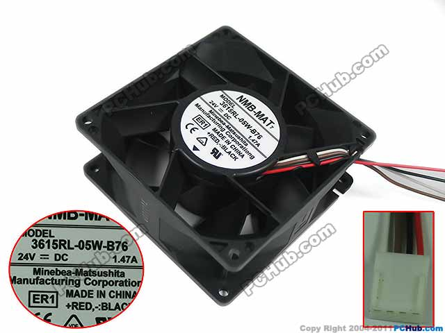 NMB-MAT 3615RL-05W-B76 ER1 DC 24V 1.47A 90x90x38mm 4-wire Server Square Fan adda 54841l1s fast600epa server laptop fan dc 5v 0 5a 4 wire