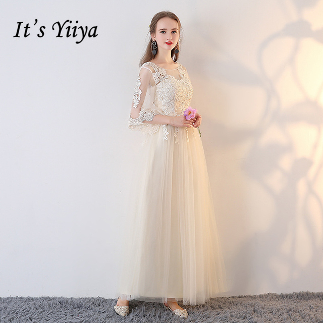 It's YiiYa Champagne Bridesmaids Dresses O-Neck Illusion Formal Dress Ankle-Length Candy Color Lace Fashion Designer LX721