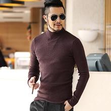 Mens Autumn Winter Black Woolen Turtleneck Sweater Slim Fit Solid Men Knit Cashmere European Style Fashion New Pullovers