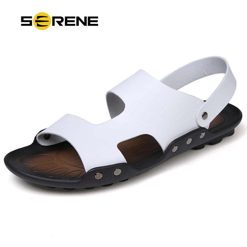 SERENE Brand Summer Men Slippers Shoes Fashion Leather Slippers Beach Sandals Casual Flat Slip On Flip Flops Size39-44 Soft Sole