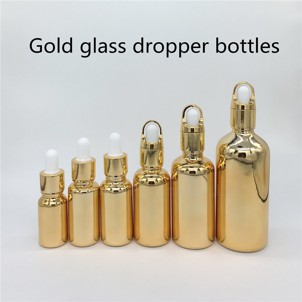 10ml,15ml,20ml,30ML,50ml,100ml gold Glass Bottle With Dropper Essential Oil Bottle ,Perfume bottles free shipping 30 50ml 4pcs lot glass green essential oil bottle with dropper packing dilution bottle