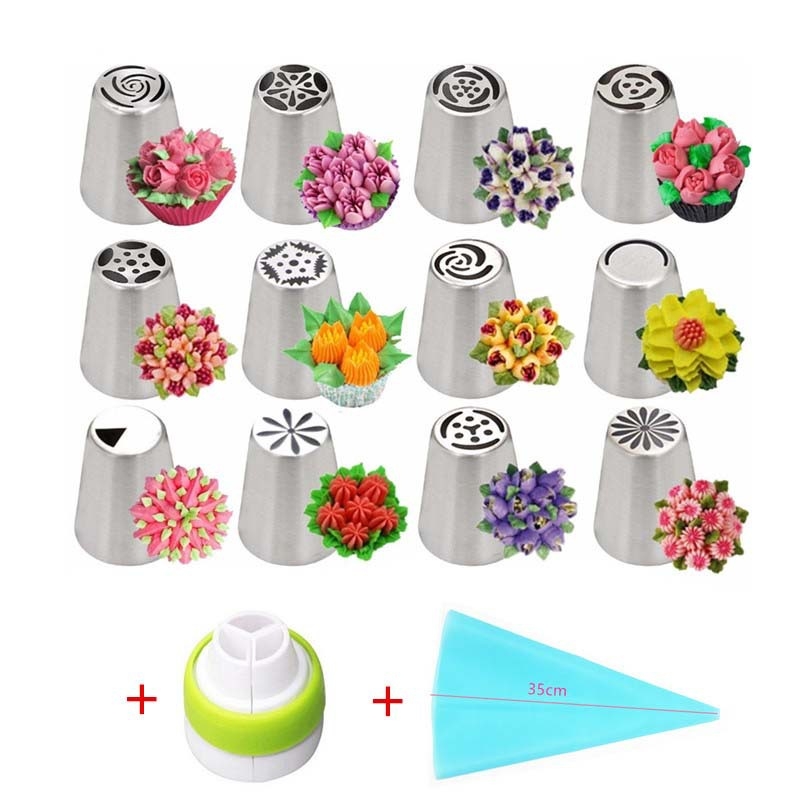 13PCS Pastry Nozzles And Coupler Icing Piping Tips Sets Stainless Steel Rose Cream Bakeware Cupcake Cake Decorating