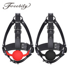 Women Adult PU Leather Adjustable Leather Metal O-rings Buckled Head Harness with Silicone Mouth Ball Gag for Adult Woman