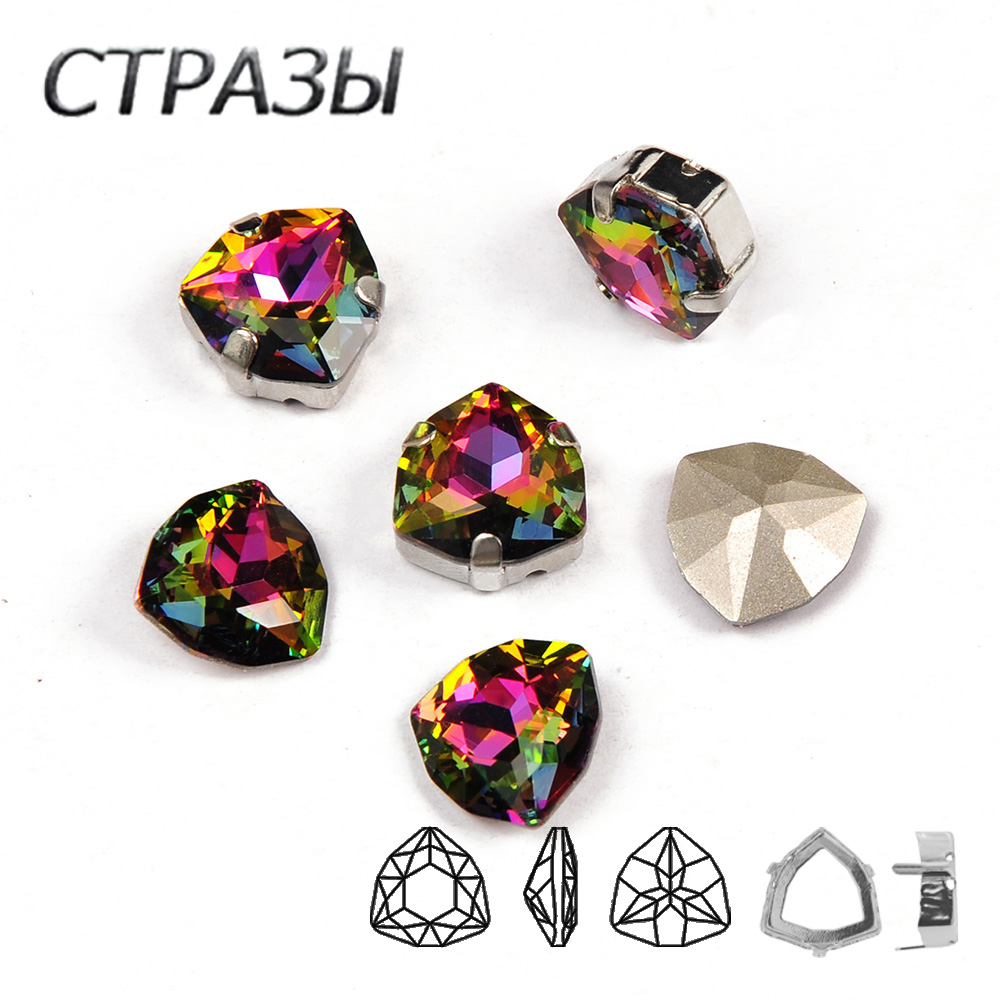 001VM Rainbow Trilliant K9 Glass Rhinestones Crystal Point Back Fancy Stones for Clothes Decoration Jewelry garment Making in Rhinestones from Home Garden