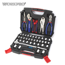 WORKPRO 52PC Home Tool Sets 3 8 Ratchet Wrench Sockets Pliers Hex Key Household Repair Tool
