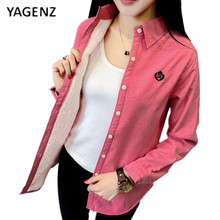 YAGENZ 2017 Spring New Women's Pure cotton Embroidery Cashmere Shirt Female Long-sleeved Bottom Coat Thickening Warm Shirt B005