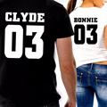 New Fashion T-shirt Bonnie/Clyde 03 Letters Print Couples Cotton T-shirts Men Women Short Sleeve Lovers Tee Shirt Tops H9