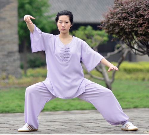 High Quality Women Cotton Linen Medium Sleeve Kung Fu Uniform Martial Arts Tai Chi Suits Exercise Stage Performance Costumes