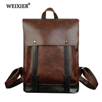 WEIXIER 2019 New Crazy Horse PU Leather Drawstring Backpack Leather Men Backpack Cool Fashion College Teen Backpack High Quality