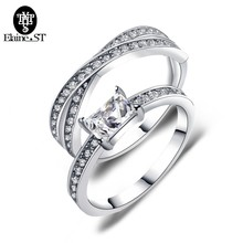Engagement Ring Set Two Trendy Princess Cut Zirconia Crystal Wedding Rings for Women Hot Anillos Anel Beauty Gift(China)
