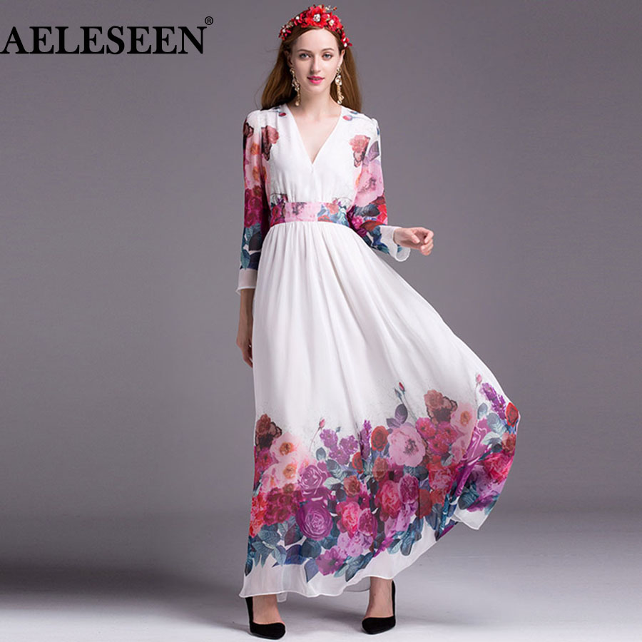 0ba8f717a7f5 Vestidos Summer Chiffon Maxi Dresses Women Full Sleeve Romantic Floor  Length Women Long V-neck Sexy Boho Dress