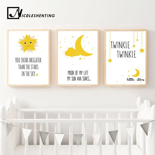 Kawaii Moon Star Motivational Nursery Nordic Posters Cartoon Wall ...
