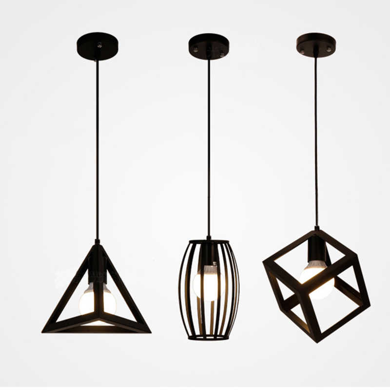 Ретро промышленный геометрический черный светодиодный железный подвесной светильник освещение для помещений коридор ресторан bedromm прикроватный Кофр подвесной светильник