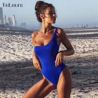 2018 Sexy One Piece Swimsuit Women Swimwear Lace Monokini Padded Swim Suit Bodysuit Bathing Suit One Shoulder Beach Wear Female 3